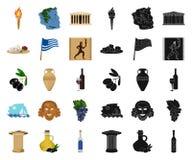 LandsGrekland tecknad film, svarta symboler i den fastställda samlingen för design Det Grekland och gränsmärkevektorsymbolet lage stock illustrationer