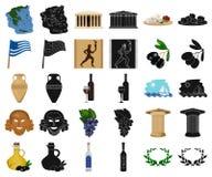 LandsGrekland tecknad film, svarta symboler i den fastställda samlingen för design Det Grekland och gränsmärkevektorsymbolet lage royaltyfri illustrationer