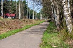 landsgrusväg med gammal och bruten asfalt arkivbild