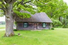Landshus med ekar fotografering för bildbyråer