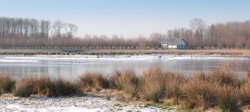 Landshus på kanten av en sjö med ett tunt lager av is Arkivbilder