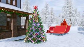 Landshus som dekoreras för jul vektor illustrationer