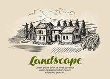 Landshuset som bygger skissar Lantligt landskap för tappning, lantgård, stugavektorillustration vektor illustrationer