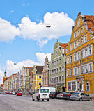 Landshut, Германия - красочный взгляд центра города с beauti Стоковое Изображение