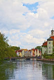 Landshut, Alemania, opinión de la ciudad con el río de Isar Fotos de archivo libres de regalías
