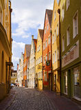 Landshut, Germany cobbled street with old buildings Royalty Free Stock Photography