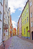 Landshut, Germany,narrow cobbled street Royalty Free Stock Images