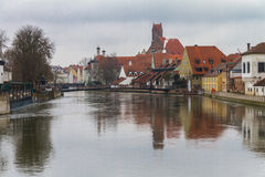 Landshut, Isar. Landshut, river isar with the bridge mühlensteg Stock Photo