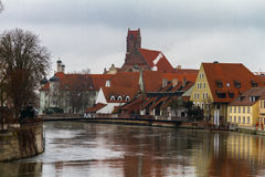 Landshut, Isar. Landshut, the river Isar with view at the Mühlensteg Royalty Free Stock Image