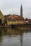 Landshut, MÃ ¼ hlensteg Στοκ Φωτογραφίες