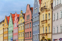 Landshut, Neue Strasse. Landshut, coulerd facades at the old townhouses of the new street Royalty Free Stock Image