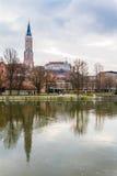 Landshut, St Martinschurch y castillo Trausnitz Imagen de archivo libre de regalías