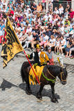 Landshut Wedding. Banner Carrier on horseback  at Landshut Wedding. The Landshut Wedding German: Landshuter Hochzeit is one of the largest historical pageants in Stock Photography