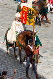 Landshut Wedding. Bishop on horseback  at Landshut Wedding. The Landshut Wedding German: Landshuter Hochzeit is one of the largest historical pageants in Europe Royalty Free Stock Image
