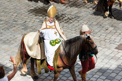 Landshut Wedding. Bishop on horseback  at Landshut Wedding. The Landshut Wedding German: Landshuter Hochzeit is one of the largest historical pageants in Europe Stock Photo