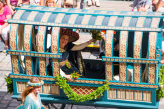 Landshut Wedding. Duchess in the carriage at Landshut Wedding. The Landshut Wedding German: Landshuter Hochzeit is one of the largest historical pageants in Stock Images