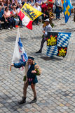 Landshut Wedding. Flag swingers  at Landshut Wedding. The Landshut Wedding German: Landshuter Hochzeit is one of the largest historical pageants in Europe Royalty Free Stock Image