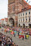 Landshut Wedding. Flag swingers  at Landshut Wedding. The Landshut Wedding German: Landshuter Hochzeit is one of the largest historical pageants in Europe Royalty Free Stock Photo