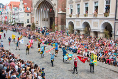 Landshut Wedding. Flag swingers  at Landshut Wedding. The Landshut Wedding German: Landshuter Hochzeit is one of the largest historical pageants in Europe Stock Photos