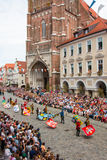 Landshut Wedding. Flag swingers  at Landshut Wedding. The Landshut Wedding German: Landshuter Hochzeit is one of the largest historical pageants in Europe Stock Photography