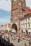 Landshut Wedding. Flag swingers at Landshut Wedding. The Landshut Wedding German: Landshuter Hochzeit is one of the largest historical pageants in Europe Stock Photo