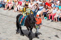 Landshut Wedding. Herald on horseback  at Landshut Wedding. The Landshut Wedding German: Landshuter Hochzeit is one of the largest historical pageants in Europe Royalty Free Stock Photo
