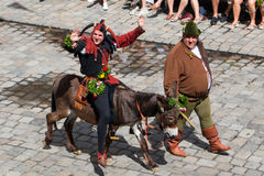 Landshut Wedding. Jester on a donkey at Landshut Wedding. The Landshut Wedding German: Landshuter Hochzeit is one of the largest historical pageants in Europe Royalty Free Stock Image