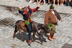 Landshut Wedding. Jester on a donkey at Landshut Wedding. The Landshut Wedding German: Landshuter Hochzeit is one of the largest historical pageants in Europe Royalty Free Stock Photos