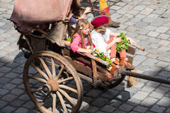 Landshut Wedding. People of the race with children at Landshut Wedding. The Landshut Wedding German: Landshuter Hochzeit is one of the largest historical Royalty Free Stock Photo