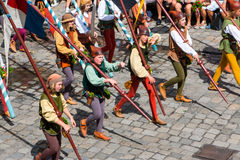 Landshut Wedding. Squires and Lance Carriers  at Landshut Wedding. The Landshut Wedding German: Landshuter Hochzeit is one of the largest historical pageants in Stock Photography