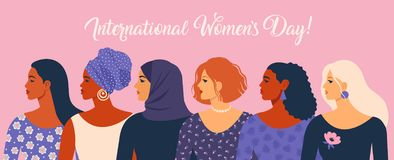 Landskampkvinna dag Vektorillustration med olika nationaliteter och kulturer för kvinnor vektor illustrationer