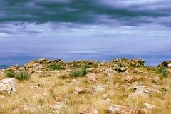 Landskap över Great Salt Lake Arkivbilder