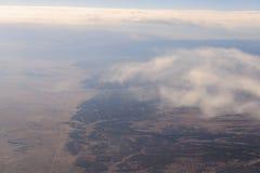Landskap Amerika från fönsterflygplanet arkivfoto