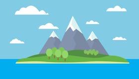 landskap av ön med berg Royaltyfria Bilder