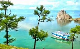Landskap av berg en sjö och ett nöjefartyg i avståndet stock illustrationer