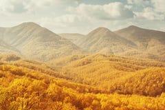 Landskap av berg i höst Arkivfoton