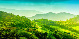 Landskap av berget med vägen och kolonin, Chiang Rai, Thail Royaltyfria Bilder