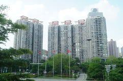 Landskap av bostads- byggnader i Shenzhen Arkivfoton