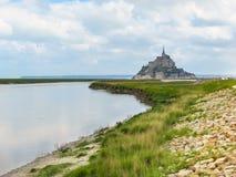 Landskap av Brittany och Mont Saint-Michel, Frankrike Arkivfoto