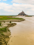 Landskap av Brittany och Mont Saint-Michel, Frankrike Arkivfoton