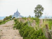 Landskap av Brittany och Mont Saint-Michel, Frankrike Arkivbilder