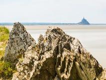 Landskap av Brittany och Mont Saint-Michel, Frankrike Arkivbild