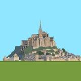 Landskap av Brittany och Mont Saint-Michel, Frankrike royaltyfri illustrationer