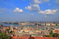 Landskap av Budapest för solnedgång Arkivbilder