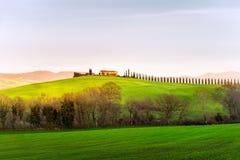 Landskap av bygd på solnedgången italy tuscany Arkivbilder