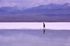 Landskap av Chaka Salt Lake royaltyfri fotografi