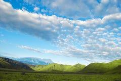 landskap av den gröna ängen, berget, blå himmel och moln royaltyfri fotografi