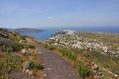 Landskap av den grekiska ön Santorini Royaltyfria Bilder