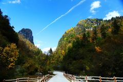 Landskap av den Guanegou medborgaren Forest Park i Kina ` s Gansu Royaltyfria Bilder
