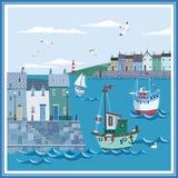 Landskap av den kust- havsstaden med invallningen, hus, fartyg och fyren royaltyfri illustrationer